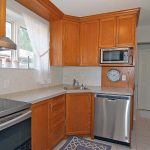 Stainless steel stove, dishwasher, microwave, refrigerator and lots of counter space